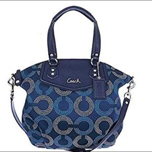 Coach Ashley Signature Op Art Navy/Deep Ink Tote